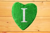 I Love Green Heart With Wooden Background