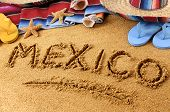 Mexico Written In Beach Sand