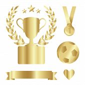 Shiny Gold Trophy Cup, Medal, Laurel, Award Set, Isolated Vectors