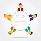 Business Meeting, People Around The Table, Vector