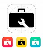 Drone repair kit box icon.