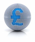 British pound sterling icon on globe formed by dollar sign, 3d render