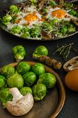 Vegetable Omelet With Bulls Eye Egg And Sprouts