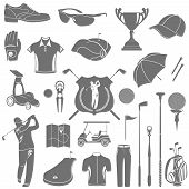 stock photo of ball cap  - Golf game sport and activity icons set isolated vector illustration - JPG