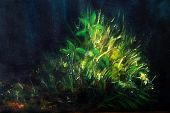 Color Oil Painting, Green Plant On Dark Blue Background