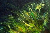 Color Oil Painting, Green Plant On Dark  Background