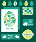 Vector abstract green circles set of Easter cards, labels, tags and banners templates