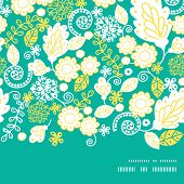 Vector emerald flowerals horizontal frame seamless pattern background