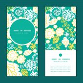 Vector emerald flowerals vertical round frame pattern invitation greeting cards set