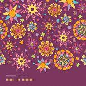 Colorful stars horizontal border seamless pattern background template