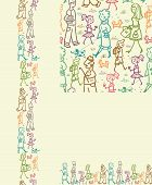 People on the street seamless pattern background and borders