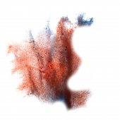 ink blot blue, burgundy splatter background isolated on white ha