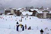 Children's ski school in Roza Khutor plateau