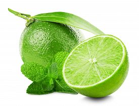 picture of mint leaf  - Lime with slice and mint leaves isolated on white background - JPG