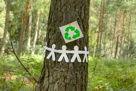 stock photo of save earth  - Green recycle sign with paper men holding hands on a tree symbolizing a group effort to recycle - JPG