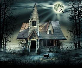 picture of scary haunted  - Haunted house with dark scary horror atmosphere - JPG