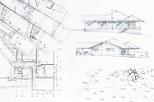 foto of architecture  - architectural concept drawing with house plan blueprints - JPG