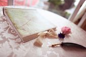 pic of inkpot  - Beautiful feather pen on table with vintage decoration
