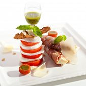 picture of pesto sauce  - Salad Caprese with Bacon Wrapped Bread and Pesto Sauce - JPG