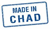 picture of chad  - made in Chad blue square isolated stamp - JPG