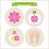 Постер, плакат: Flat Flower Beauty And Spa Icons Set