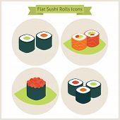 pic of sushi  - Flat Sushi Rolls Circle Icons Set - JPG