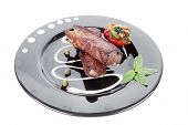 image of braai  - fresh red beef meat steak barbecue garnished vegetable salad sweet potato and basil on black plate isolated over white background - JPG