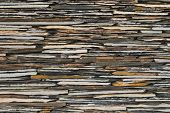 picture of fortified wall  - close up pattern of decorate Slate Stone wall - JPG