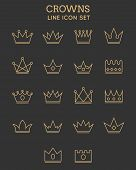 picture of monarch  - Crown line icon set - JPG