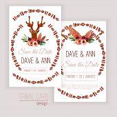 picture of deer head  - Vector watercolor save the date cards with deer head - JPG