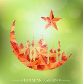 pic of crescent  - Islam mosque with crescent moon as emblem for Ramadan - JPG