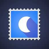 pic of blue moon  - Illustration of a blue mail stamp icon with a moon - JPG