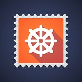 foto of dharma  - Illustration of an orange mail stamp icon with a dharma chakra sign - JPG