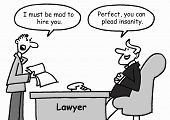 picture of insane  - A client talks to his lawyer in his office and says - JPG