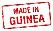 stock photo of guinea  - made in Guinea red square isolated stamp - JPG
