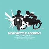 stock photo of accident emergency  - Motorcycle Accident Black Symbol Vector Illustration - JPG