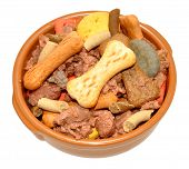 pic of ceramic bowl  - Ceramic dog bowl filled with dog meat and crunchy biscuit mix isolated on a white background - JPG