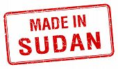 picture of sudan  - made in Sudan red square isolated stamp - JPG