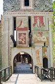 stock photo of turin  - Entrance of the medieval village in Turin Italy - JPG