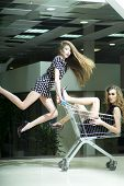 stock photo of trolley  - Two young pretty funny fashionable girls in dresses with shopping trolley indoor on store backdrop vertical picture - JPG