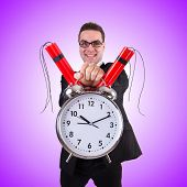 picture of time-bomb  - Man with time bomb against the gradient - JPG