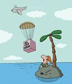 foto of starving  - Funny cartoon about desert island and seafood cooking - JPG