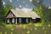 foto of raindrops  - Cottage with blur effect and raindrops in the country - JPG
