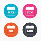 stock photo of august calendar  - Circle buttons - JPG