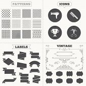 picture of hair cutting  - Seamless patterns - JPG