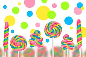 picture of lolli  - Fantasy sweet candy land with lollies on white background - JPG