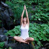 Постер, плакат: Красивая молодая женщина делают йоги в позе лотоса возле водопада и зеленые листья
