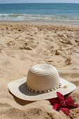 foto of sand lilies  - beach hat and flower in the sand - JPG