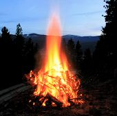 Bonfire At Dusk
