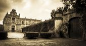picture of carthusian  - A church courtyard in Jerez Southern Spain showing the old walls and mature gardens - JPG